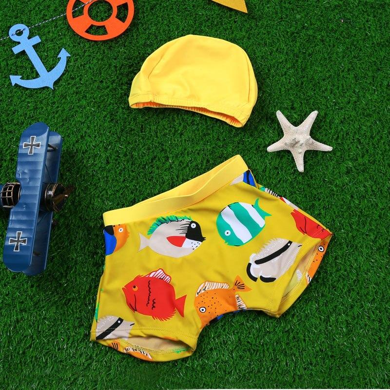 Haiyishan Children Cute BOY'S Boys' Swimming Trunks With Swim Cap Cartoon Pattern Students Swimming Suit