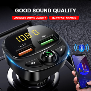 Image 3 - QC 3.0 çift USB şarj araba Bluetooth 5.0 Fm verici MP3 çalar araç kiti TF kart araba hızlı şarj adaptörü Handsfree çağrı