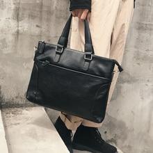 Leather Business Briefcase Portable High Capacity Shoulder Travel Office Messenger Briefcase Bolso Hombre Bag for Men DB60BA