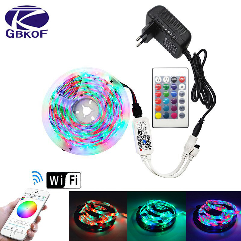 5M Waterproof RGB LED Strip Light SMDTape DC12V Ribbon Diode RGB  2835 Led Strips Light Flexible Stripe Lamp IR WIFI Controller