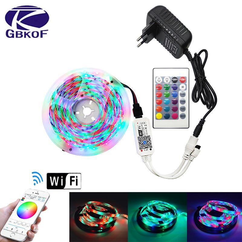 5M Waterproof RGB LED Strip Light SMDTape DC12V Ribbon Diode RGB  2835 Led Strips Light Flexible Stripe Lamp IR WIFI Controller