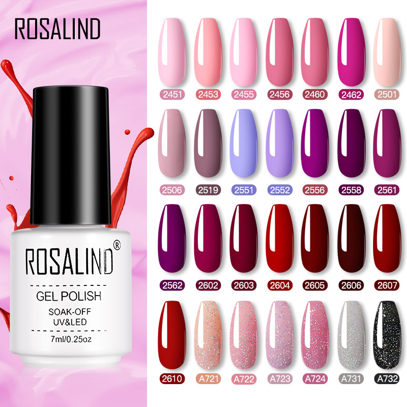 ROSALIND Gel Polish Varnishes Set For Nails Manicure Semi Permanent Hybrid Base Top Base Coat Dazzling Glitter Gel nail Polish|Nail Gel| - AliExpress