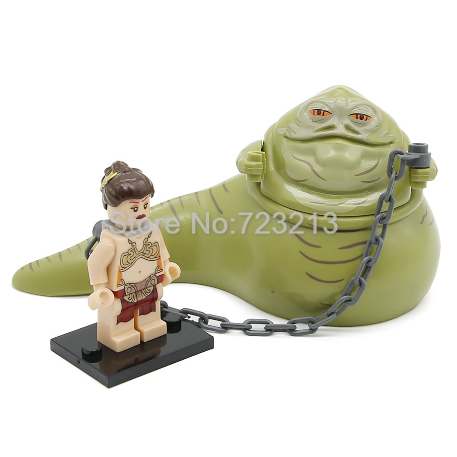 Star Wars Figure Single Sale Jabba The Hutt Princess Leia With Chain Building Blocks Set Model Starwars Toys Legoing