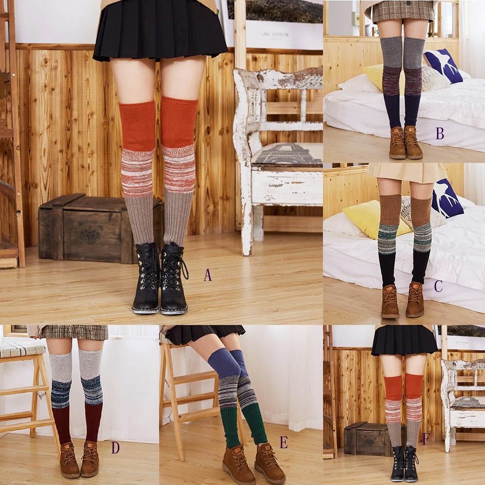 Women Ladies Warm Winter Wool Leg Warmers Knitted Crochet Socks Leggings Autumn Winter Fashion Long Socks