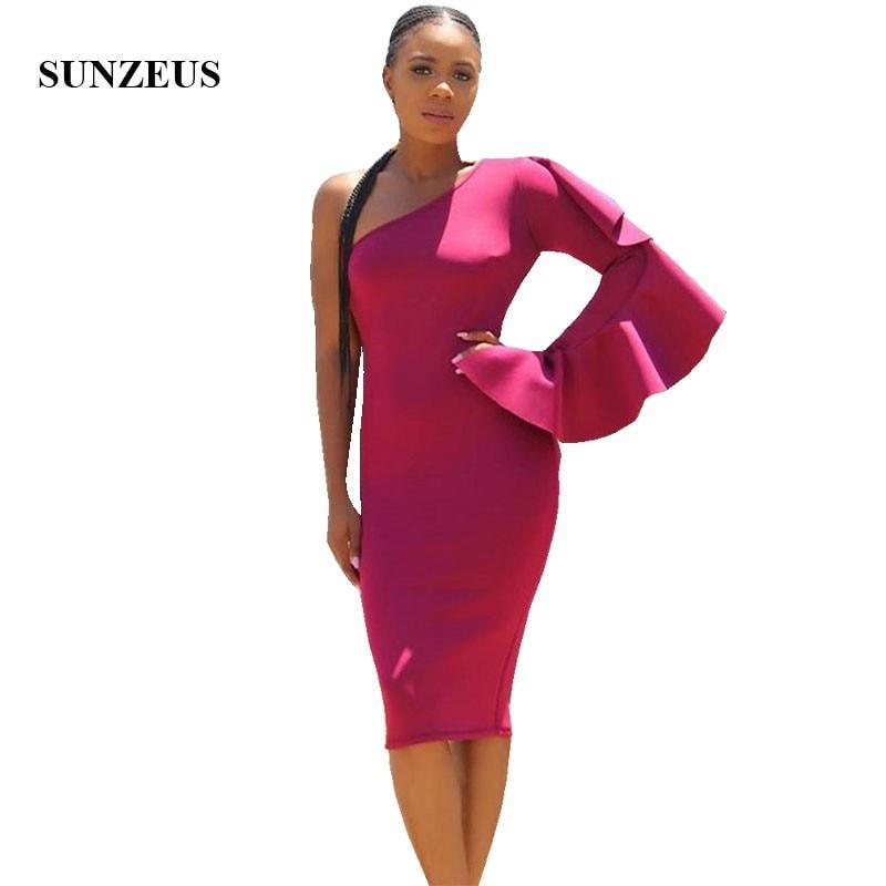 Sheath Knee Length One Shoulder Cocktail Dress 2019 Single Sleeve Women Party Gowns With Ruffles Vestido De Coctel