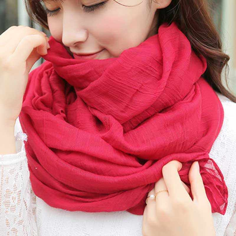2019 Women Autumn Winter Scarf Pashmina Cape Luxury Warm Solid Linen And Cotton Fashion Female Multi-purpose Shawl