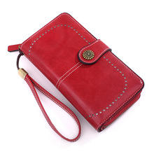 womens wallets and purses Retro style long wax oil hollow PU leather mobile phone credit card holder wallet for girls