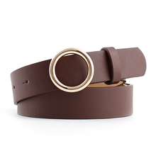 Fashion Female Silver Round Buckle Solid Color Waistband Simple Elegent PU Leather Belts