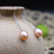 цены Hot Sale New Fashion Natural Freshwater Pearl Earrings Stud for Women Fine Jewelry Long Drop Earrings Gifts for Women 2 color