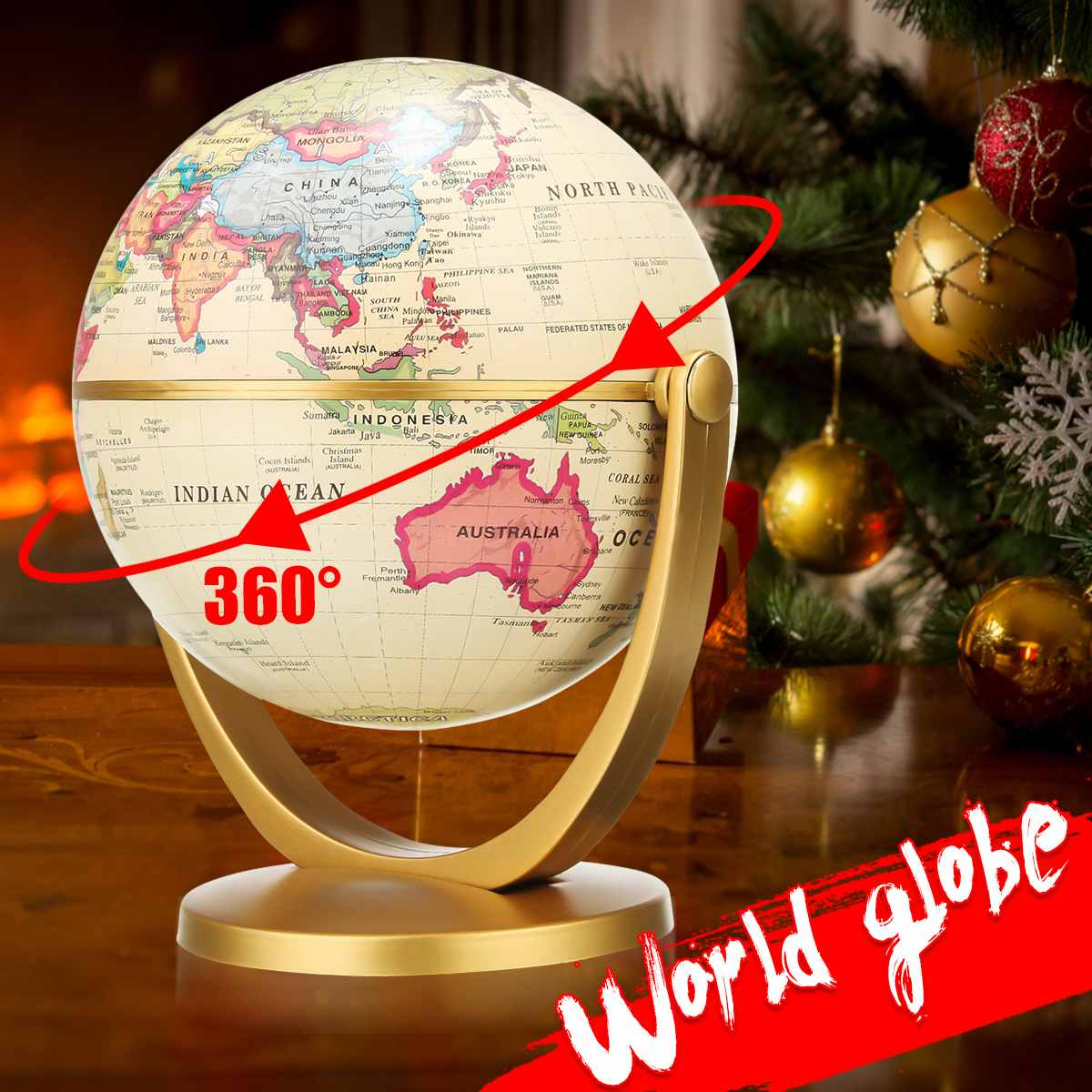 12cm 360° Rotating Retro World Globe Earth Ocean Map Ball Antique Desktop Geography Learning Educational Home School Decoration