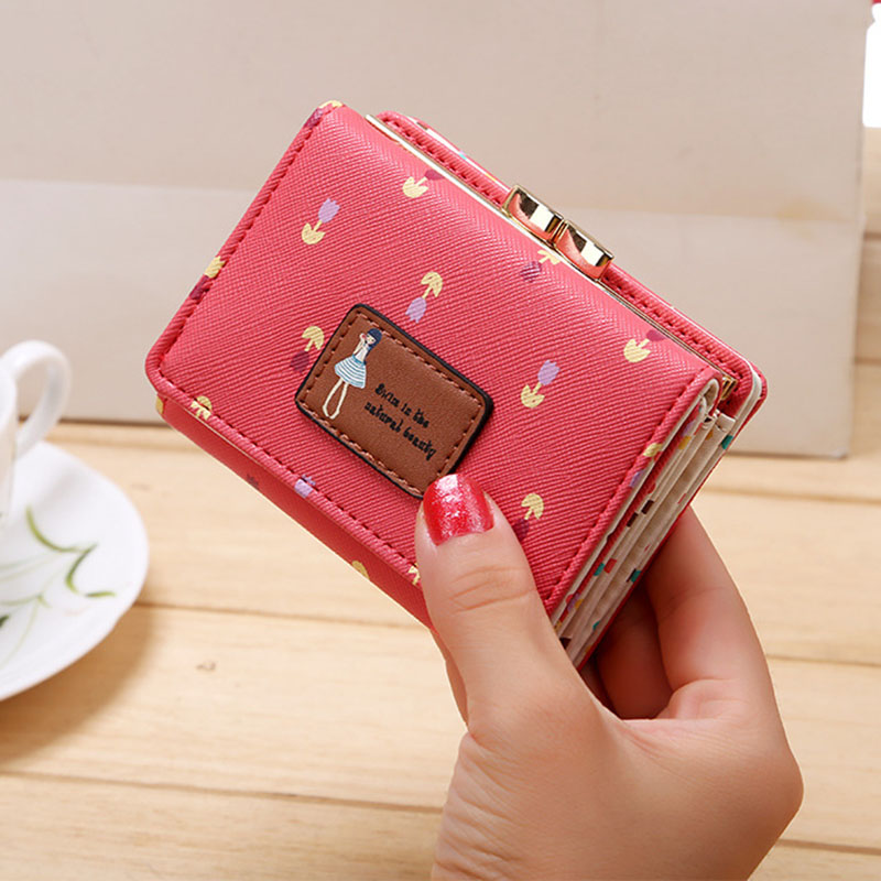 Кожаный женский кошелек, короткая Сумочка для монет, женский кошелек, Новинка Kawaii Girl, маленькие кошельки для мелочи, сумка для монет, 3 сложения, кошелек для монет