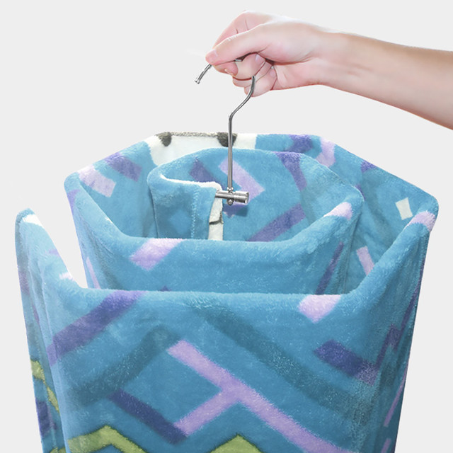 Spiral Shaped Blanket Sheet Hanger Quilt Smart Storage Solution Drain Rack Stainless Steel