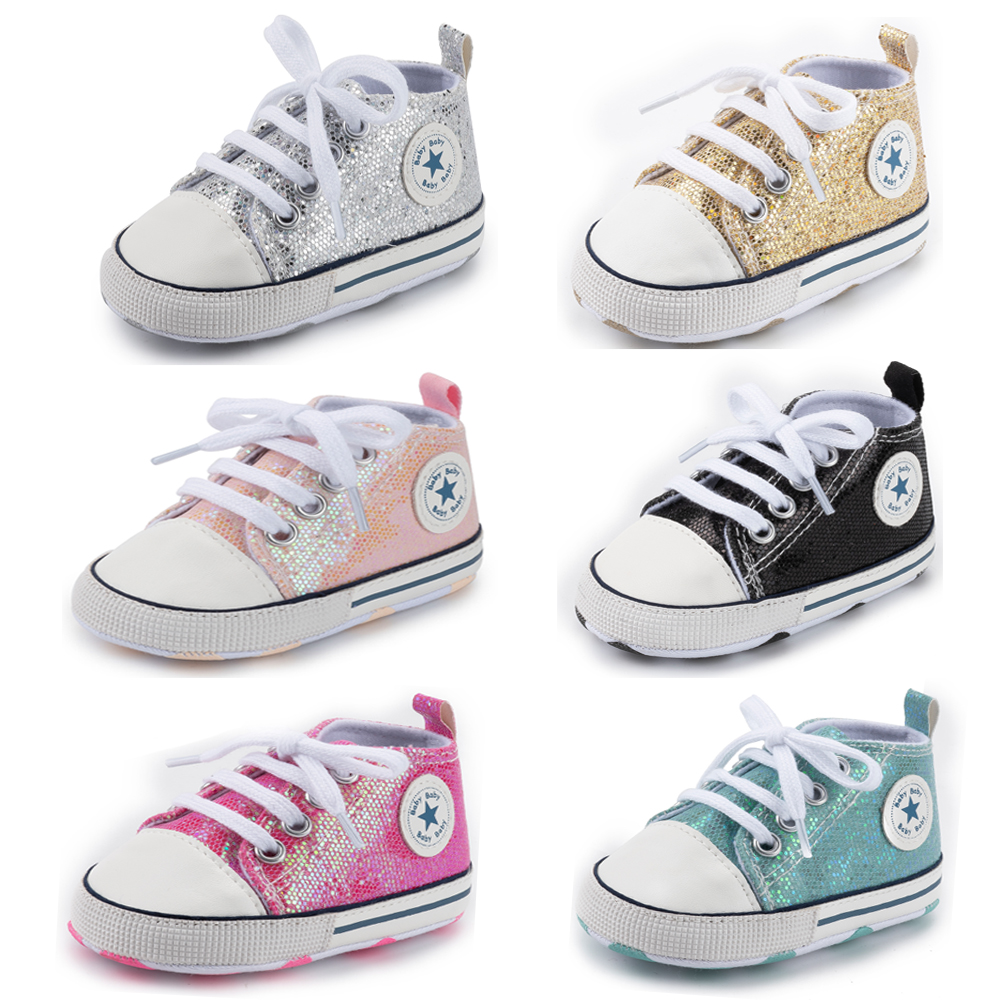 Newborn Baby Shoes Casual Shining Canvas Boy Girl Shoes Cool First Walkers Crib Shoe White Soft Anti-Slip Sole Toddler Infant