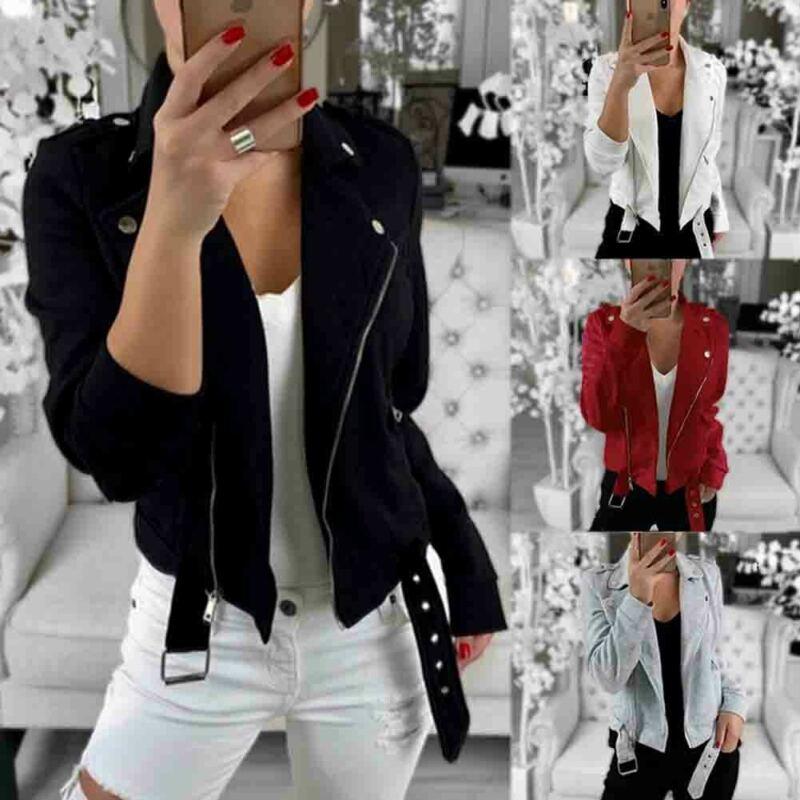 Women Ladies Solid Zipper Black Brief Loose Jacket Coats Zip Up Biker Casual Flight Top Coat Outwear 4 Colors