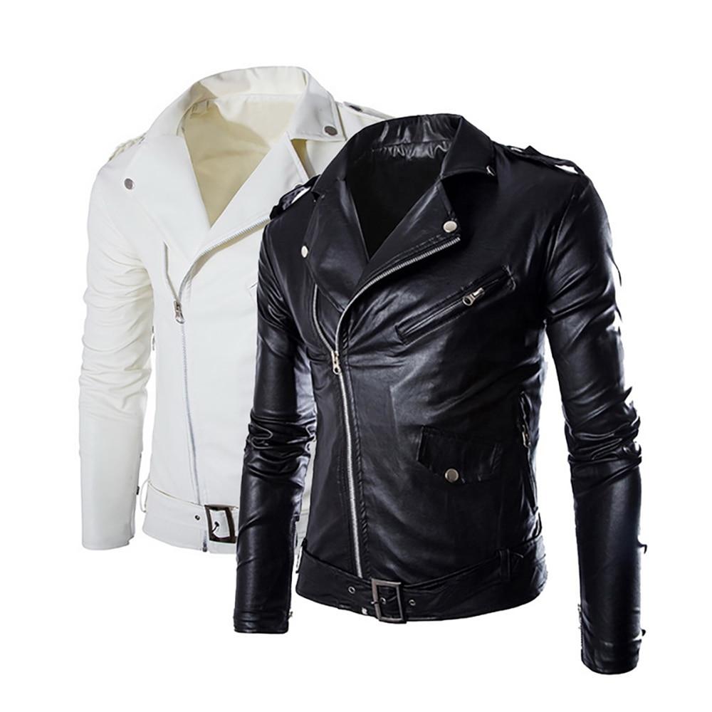 2019 Brand Autumn Winter Casual Zipper Leather Jacket Motorcycle Leather Jacket Slim Mens Jackets And Coats Black White Coat
