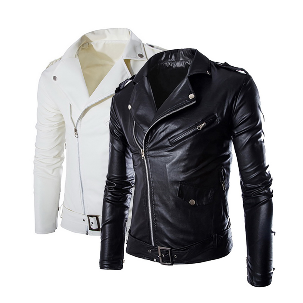 2020 Brand Autumn Winter Casual Zipper Leather Jacket Motorcycle Leather Jacket Slim Mens Jackets And Coats Black White Coat