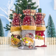 Christmas Decorative Treat Bags Drawstring Linen Wine Bottle Covers Christmas