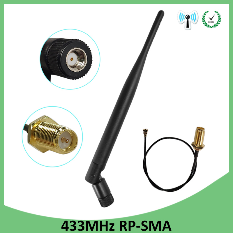 433Mhz Antenna 5dbi GSM 433 mhz RP-SMA Connector Rubber 433m Lorawan antenna+ IPX to SMA Male Extension Cord Pigtail Cable(China)