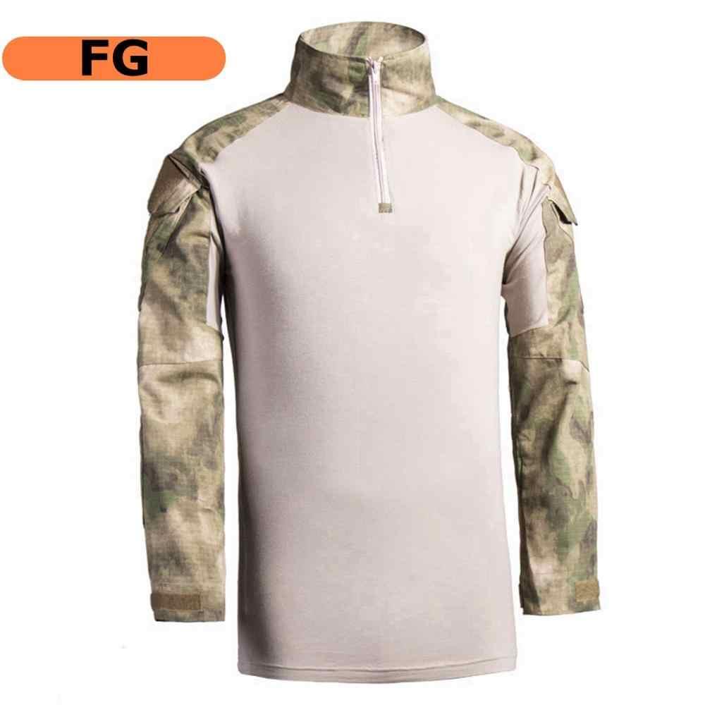 전술 지퍼 전투 긴 소매 티셔츠/슬림 피트 사냥 군사 유니폼 드라이 퀵 세트
