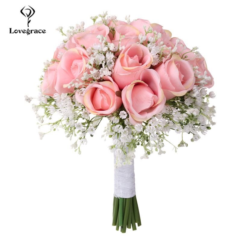 Lovegrace Bouquet Bride Wedding Bouquet Artificial Silk Rose Flower Fake Baby's Breath Pink Nosegay Party Prom Wedding Supplies