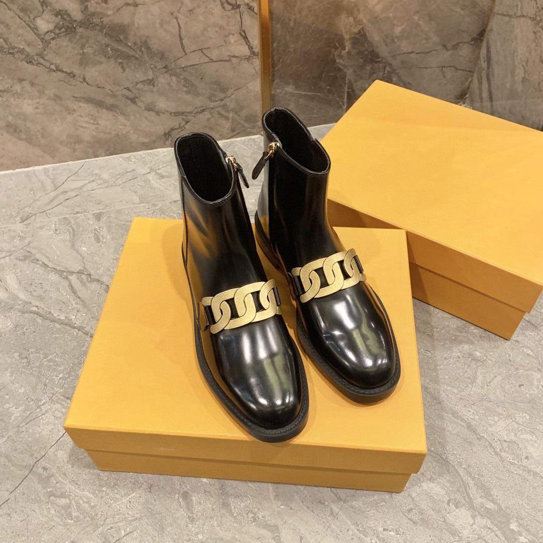 Women Fashion Brand Genuine Leather Ankle Boots Designer Plus Cashmere Warm Winter Short Boots Ladies Luxury Retro Style Shoes