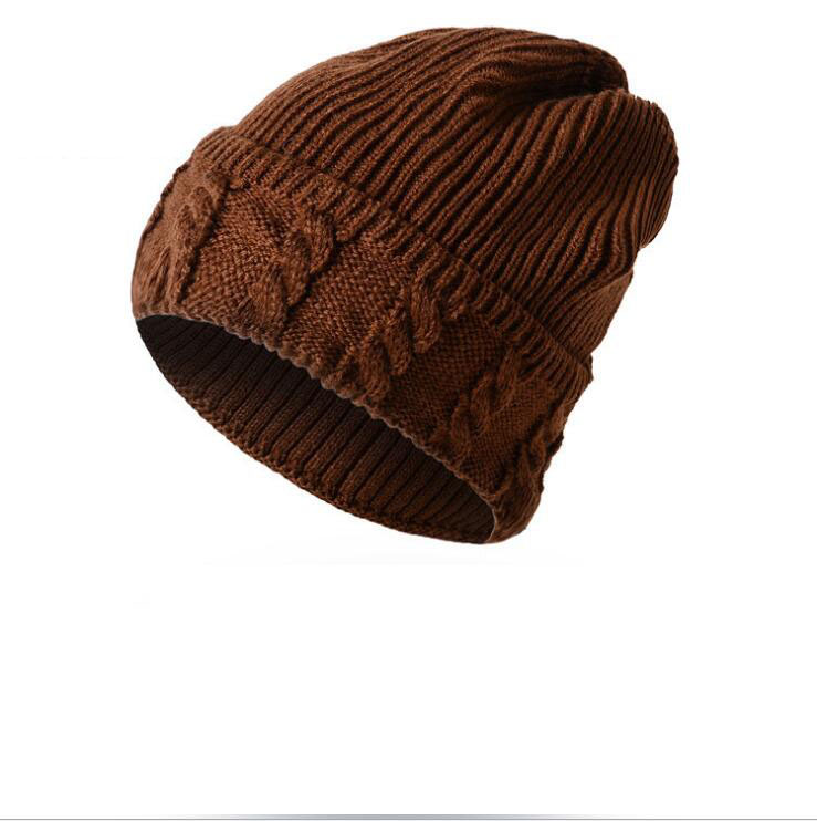 Adult Men Knitted Skull Cap Casual Acrylic Cotton Thread Hip Hop Hat Beanie Skullcap Retro Coffee Fashion Warm Beanie Skullcap image