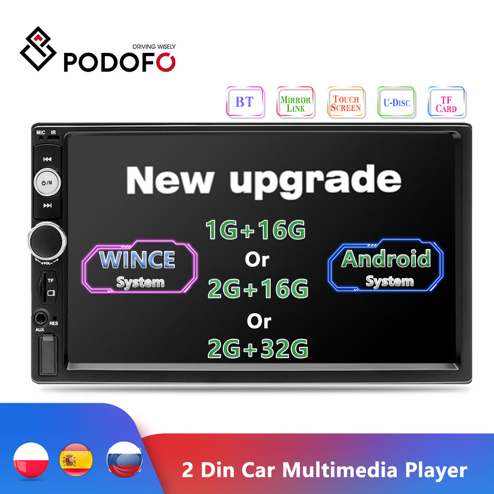 Podofo 2 Din Android Car Radio 7 Autoradio Multimedia Player Bluetooth de enlace de reserva de coche Monitor grabadora de Cassette ESTÉREO