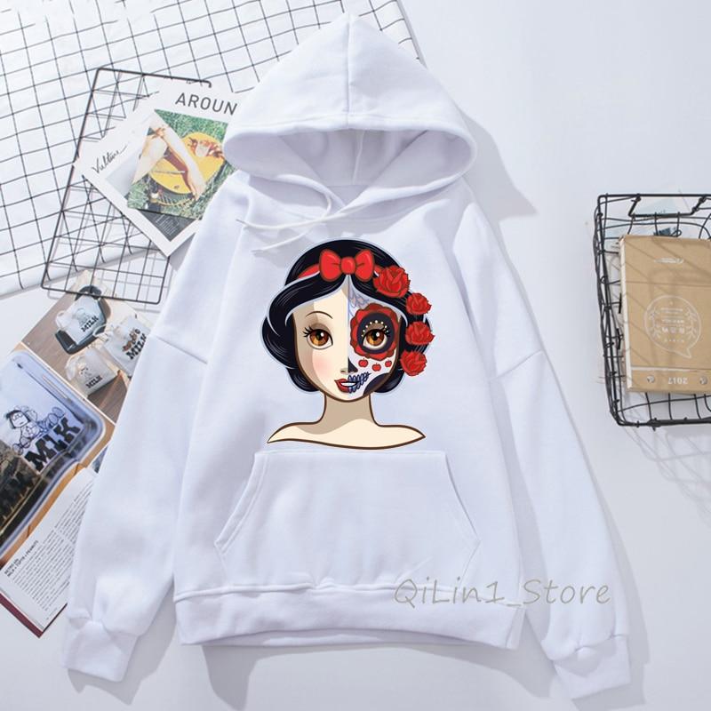 Sugar Skull Snow White Princess Print Hooded Sweatshirt Women Kawaii Hoodie Woman Winter Autumn Clothes DIY Sweat Femme Hoody