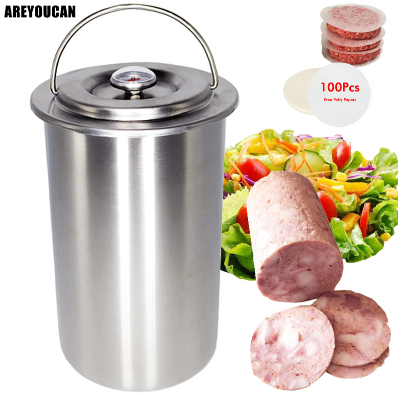 304 Stainless Steel Ham Press Maker Machine Hamburger Making For Meat Poultry Cooked Tools With 100 Pcs Patty Papers Thermometer