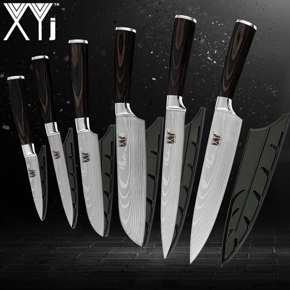 XYj Kitchen Knives 3 5 5 5 7 8 8 inch Japanese Style Cooking Tools Color