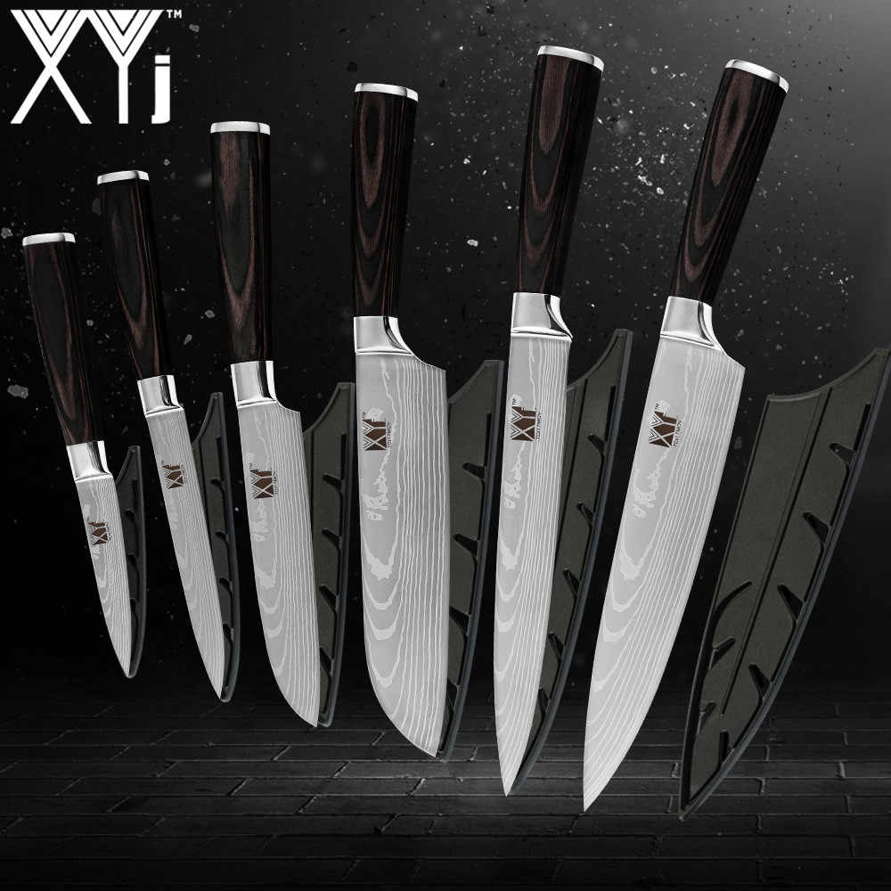 XYj Kitchen Knives 3.5, 5, 5, 7, 8, 8 inch Japanese Style Cooking Tools Color Wood Handle 7Cr17 Stainless Steel Knives 6pcs Set