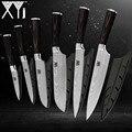 XYj Keukenmessen 3.5, 5, 5, 7, 8, 8 inch Japanse Stijl Koken Tools Kleur Houten Handvat 7Cr17 Rvs Messen 6 stuks Set