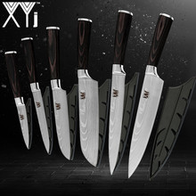 XYj Kitchen Knives 3.5, 5, 7, 8, 8 inch Japanese Style Cooking Tools Color Wood Handle 7Cr17 Stainless Steel 6pcs Set