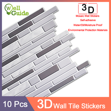 10pcs 3D Wall Sticker Mosaic Brick Self-Adhesive Waterproof ceramic tile paper for Kitchen Bathroom Home Decal