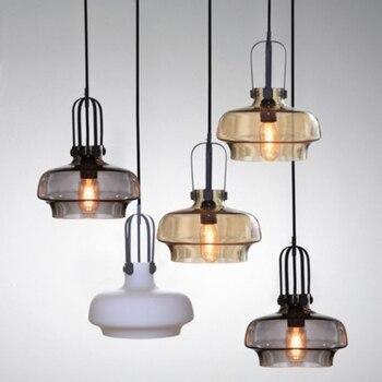 Creative Glass Lampshade Pendant Lamp Nordic Single Head Restaurant Light Retro Hanging Lights Living Room Lights Amber  Gray