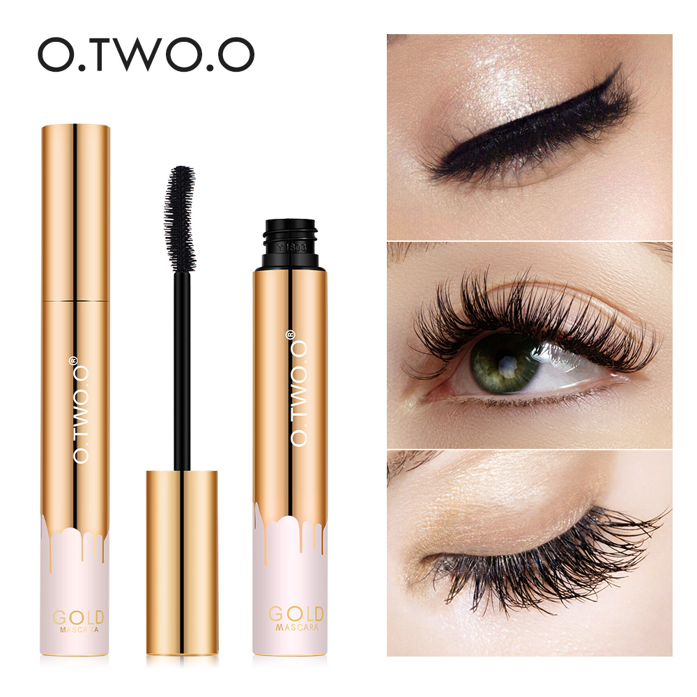 O.TWO.O 3D Mascara Lengthening Black Lash Eyelash Extension Eye Lashes Brush Beauty Makeup Long-wearing Gold Color Mascara