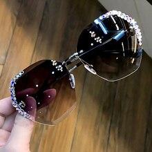 Luxo sem aro polarizado diamante óculos de sol feminino óculos de sol de cristal quadrado