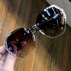 Image 1 - 럭셔리 무테 편광 선글라스 여성 스퀘어 크리스탈 선글라스 남성 빈티지 Oculos Feminino Lentes Gafas De Sol