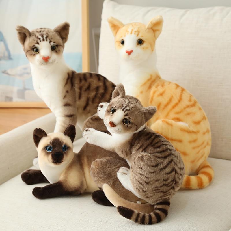 Recheado realista siameses gatos brinquedo de pelúcia simulação americano shorthair bonito gato boneca brinquedos para animais de estimação casa decoração presente para meninas aniversário