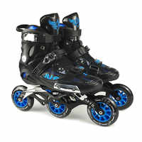 War Wolf Speed Skates Semi-solft High Ankle Roller Shoe Inline Patines 3*110/4x100mm Chassis For Street Racing Free Skating F072