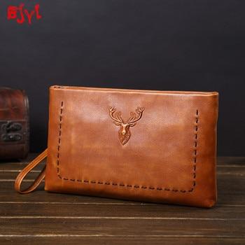 vintage leather Men's Handbags Men Casual Clutches bag Leather Envelope Bags male 2020 New Trend Retro Business clutch Bag