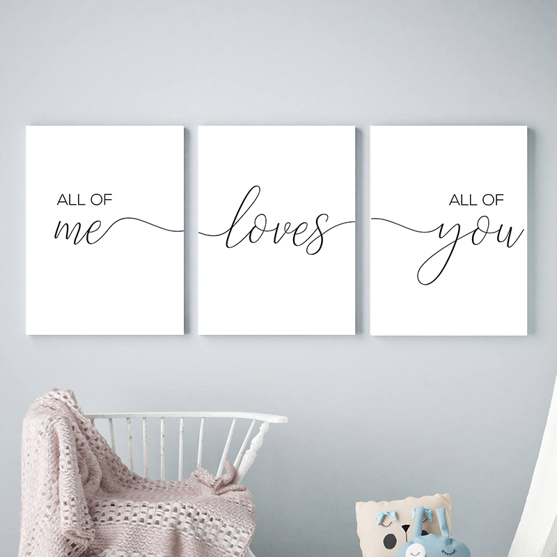 All Of Me Loves All Of You Motivational Canvas Painting Poster Black White Minimalist Quotes Wall Art Picture Bedroom Home Decor