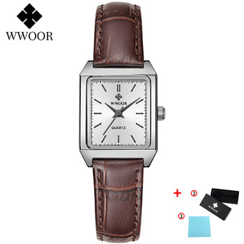 2020 WWOOR Top Brand Luxury Women Square Watches xfcs Genuine Leather Quartz Small Dial Wrist Watch Gifts For Women Montre Femme - Brown-P