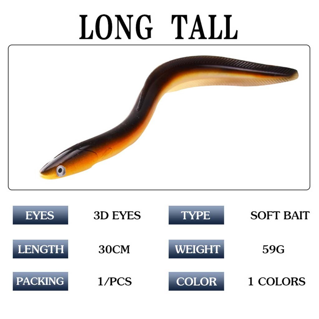 30cm//12/'/' Soft Sand EeL Saltwater Fishing Lures Bait Cod Bass Pollock Boat Sea