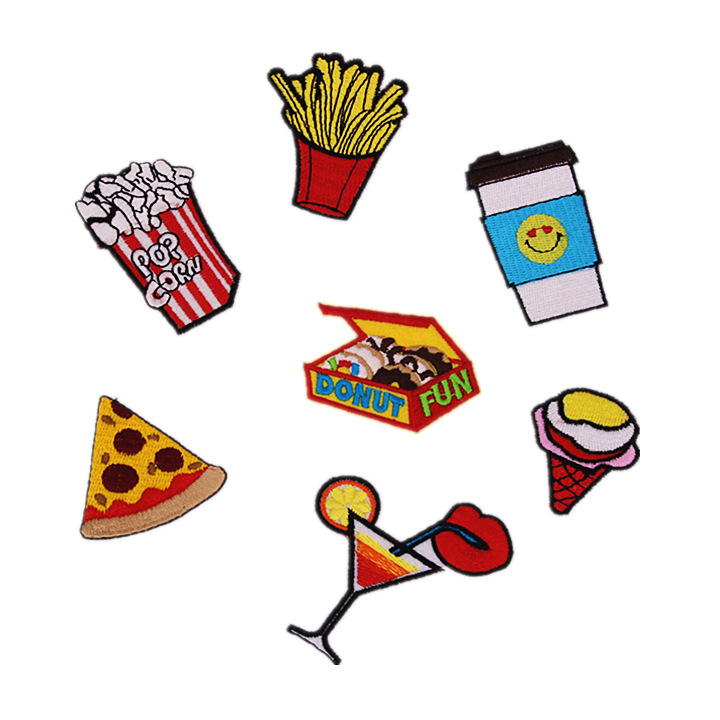 Cartoon Snacks Patches Iron on Patches for Clothing Stripes Fries Drink Badges Stickers on Clothes Embroidered Patches Appliques