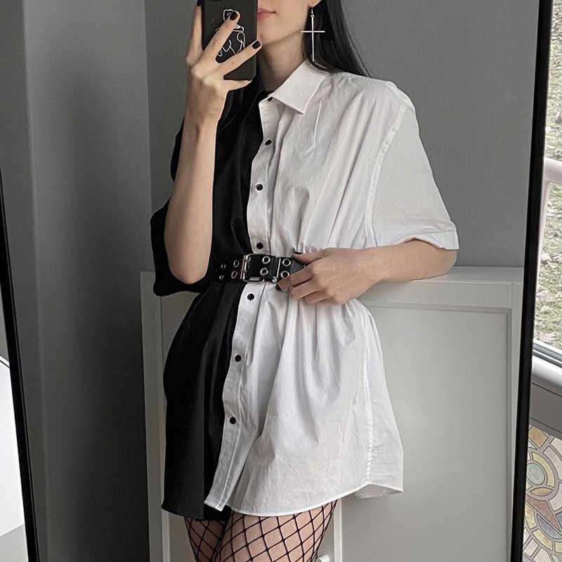 SUCHCUTE 패치 워크 여성 미니 드레스 버튼 느슨한 솔리드 streetwear 고딕 짧은 소매 드레스 Modis 여성 파티 의상