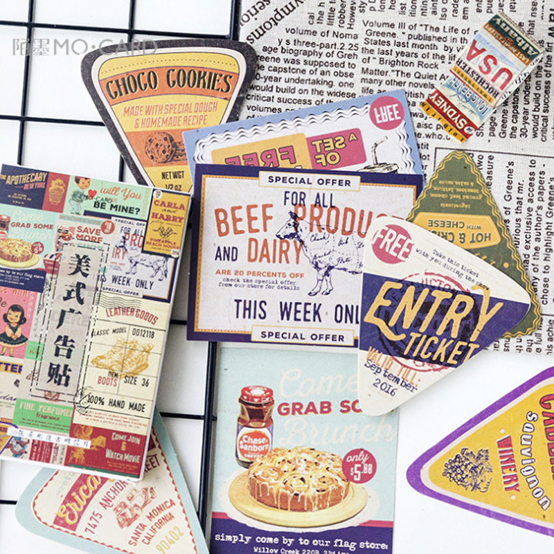 30pcs/pack Retro Creative American Advertising Stickers Boxed Message Postcard Material Escolar Decoracion Aesthetic