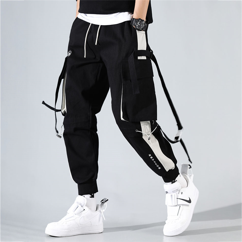 Mens Cargo Pants Hip Hop Pockets Joggers Streetwear Casual Men Pants Ribbons Patchwork Clothes Spring Autumn New Loose Trousers