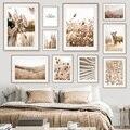 Настенные плакаты и принты в скандинавском стиле бежевая пляжная трава Милая тростница песок лиса настенная Картина на холсте для гостиной...