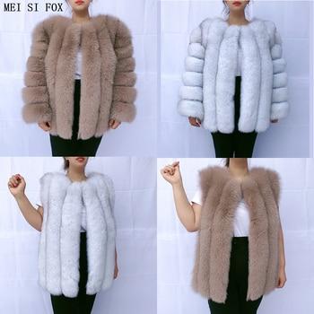 2020  winter women new vertical bar fur coat natural real gilet jacket fox vest